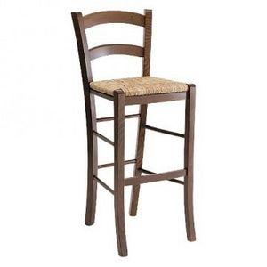 207 SG, Barstool rustique avec assise en paille, pour un bar à vin