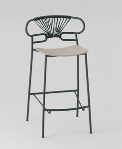 ART. 0049-MET-CROSS STOOL GENOA, Tabouret en métal avec assise en bois