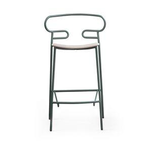 ART. 0049-MET STOOL GENOA, Tabouret en métal avec assise en bois