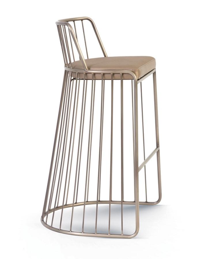 Gabby, Tabouret en métal avec assise rembourrée