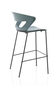 Kicca stool, Tabouret en métal et polypropylène, également disponible rembourré