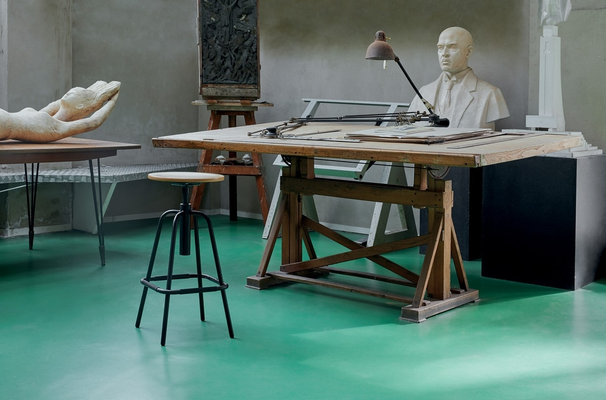 Mea Wood 05, Tabouret avec assise en bois ronde