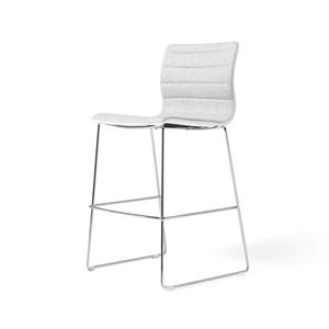 Miss stool, Tabouret rembourré avec structure en acier chromé