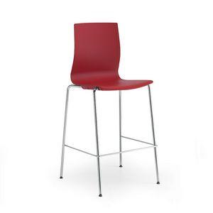 Q3, Tabouret en métal avec assise et dossier en polypropylène