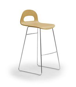Samba Wood stool sled, Tabouret avec piètement luge, coque en bois