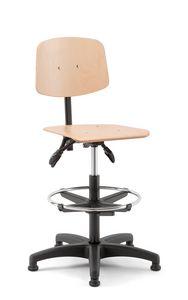 Woody 03, Tabouret pivotant avec assise en bois