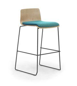 Zerosedici Wood stool, Tabouret avec piètement luge en métal