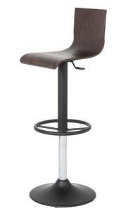 Art.Lory/Reg, Acier tabouret avec base ronde, assise et dossier en bois, ascenseur de gaz pivotant, pour l'usage de contrat