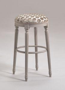 LUIGI XVI stool 8274B, Barstool dans le style Louis XVI, en hêtre, pour le mobilier naval