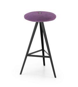 ART. 0122-H67-MET-IMB AKY, Tabouret avec assise rembourrée, hauteur 67 cm