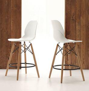 Art. 522 Shell Stool, Cuisine tabouret, les jambes et le siège en polypropylène en bois