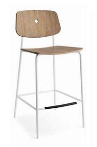 Olivia-SG, Tabouret moderne en métal, avec siège en bois