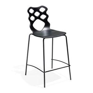 Lace stool h65 h75, Tabouret design, assise et dossier en technopolymère, adapté pour les bars, cuisines et restaurants modernes