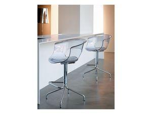 Miss b stool h.65, Tabouret avec structure fixe, en acier et acrylique