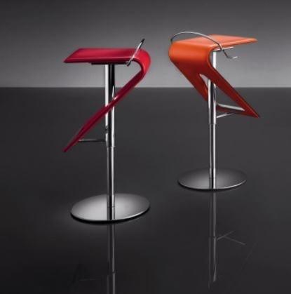 ART. 245 ZAG cuir, Tabouret réglable moderne, assise en cuir, pour les bars