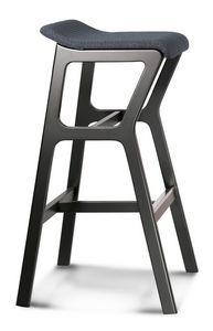 ART. 0015-H77-IMB STOOL NHINO, Tabouret en hêtre, structure asymétrique, assise rembourrée
