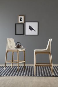 MIVIDA tabouret, Tabouret avec assise et dossier rembourrés en tissu ou cuir
