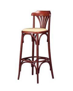 119, Rétro tabouret, en bois courbé, avec siège rembourré