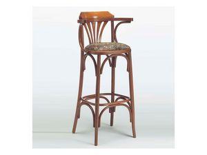 120, Tabouret en bois classique, siège rembourré, Bistro