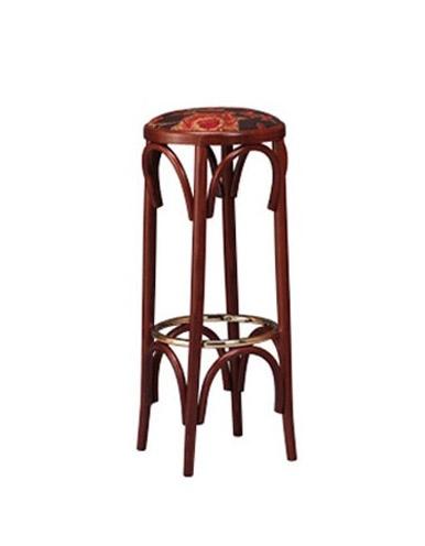 123, Tabouret en bois dans le style bistro, siège rond