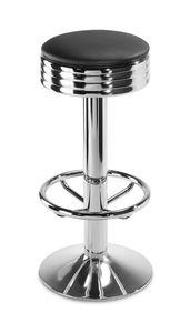 Art.101, Tabouret avec base en acier, rond siège rembourré, pour bar et la maison