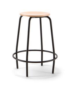Mea Wood 04, Tabouret fixe avec assise en bois