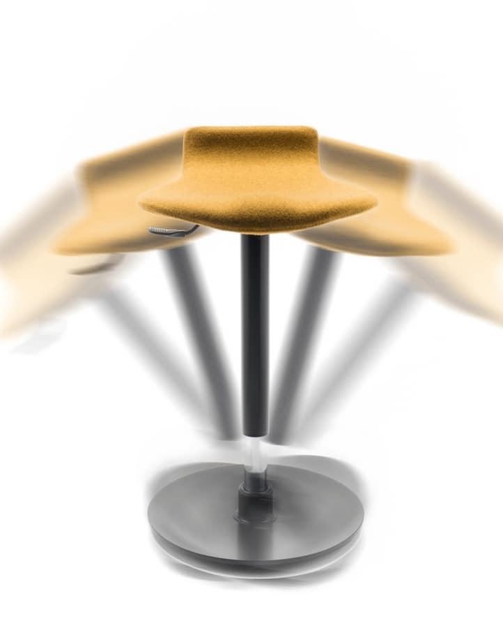Oblò, Tabouret avec base oscillante antidérapante, réglable en hauteur