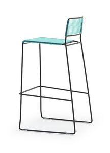 Log spaghetti ST, Tabourets empilables, dossier et l'assise sont fabriqués en PVC de couleur corde, pour usage extérieur