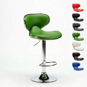 AMARILLO Design moderne pivotant chrome et tabouret pour cuisine et bar - SGA800AMA, Tabouret avec structure chromée et assise en similicuir