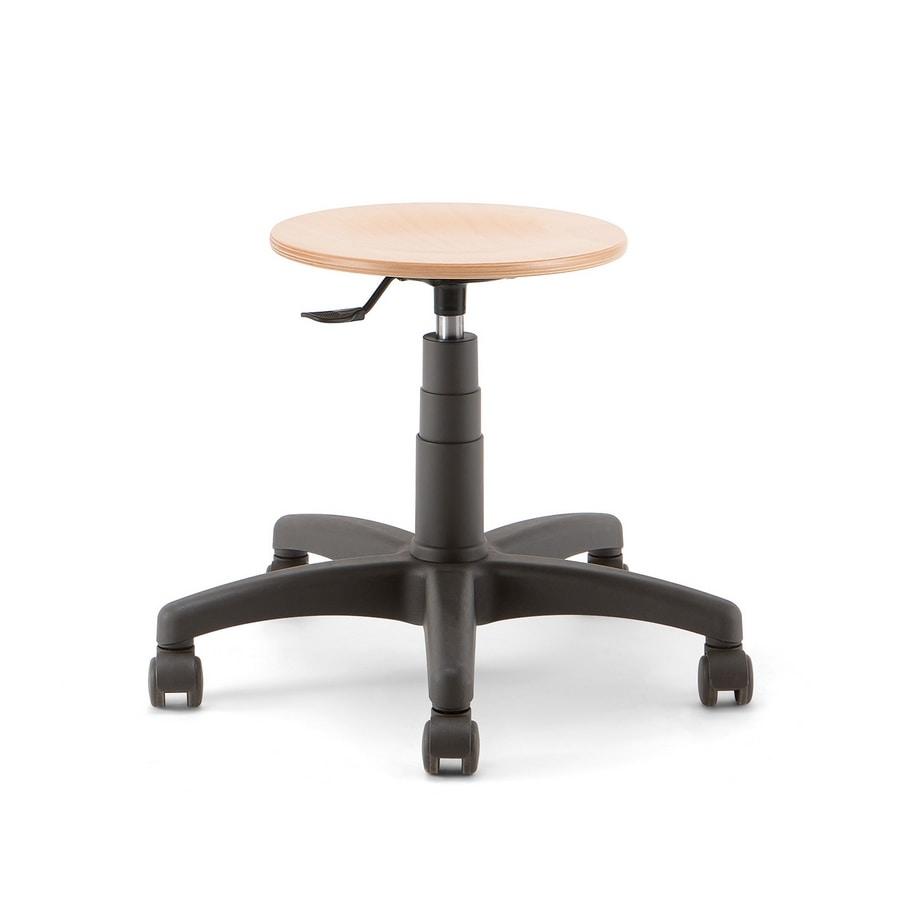 Mea Wood 01, Tabouret à roulettes, assise en bois ronde