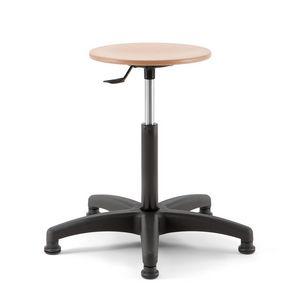 Mea Wood 02, Tabouret réglable en hauteur avec assise ronde en bois