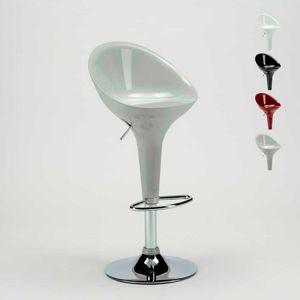 Tabouret de bar et cuisine avec péninsule chromée pivotante SAN DIEGO Design moderne - SGA800SDG, Tabouret haut réglable en hauteur