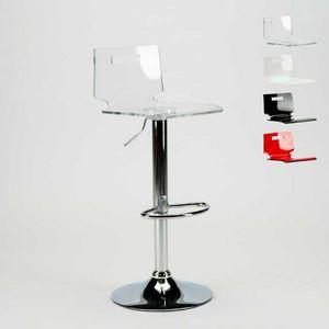 Tabouret de bar et cuisine en acier chromé SAN JOSE Modern Design - SGA800SNJ, Tabouret avec coque en plastique transparent