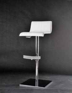 Eros tabouret, Tabouret réglable en hauteur, pivotant, avec siège recouvert de cuir épais