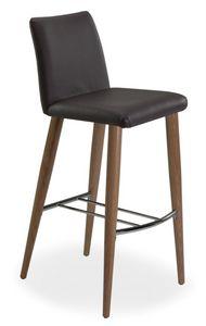 Xelle SGFW, Tabouret avec base en chêne et siège en cuir véritable