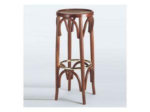131, Tabouret rond, en bois courbé, avec repose-pieds en métal