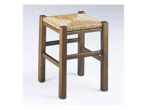 173, Tabouret carré rustique, avec assise en paille, pour le vin-bar