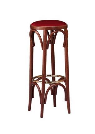 V06, Tabouret de bar en bois courbé, arrondir siège rembourré