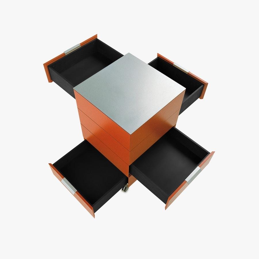 PRISMA comp.01, Tiroirs avec roues en style minimaliste, pour le bureau