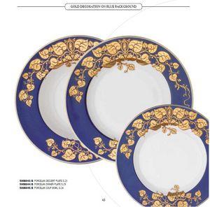 DEC dishes, Assiettes en porcelaine, avec des décorations diverses