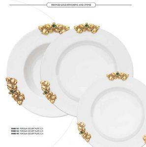 FUSIONE dishes, Assiettes en porcelaine avec décorations en or