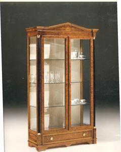 2480 VITRINE, Vitrine en bois avec 2 portes en verre, style classique