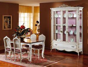 3310 VITRINE, Showcase en bois laqu� blanc, style classique de luxe