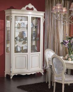 3440 VITRINE, Cabinet plaqué avec 2 portes et étagères en verre