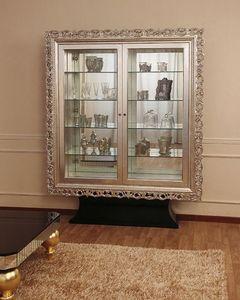 Art. 2405 Valentina Day, Vitrine classique avec 2 portes, finitions en feuille d'argent
