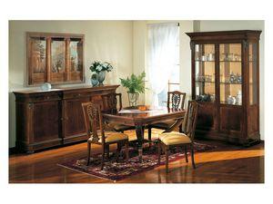 Art. 962 display cabinet Carlo X, Style classique met en valeur, avec des étagères en verre, pour salon