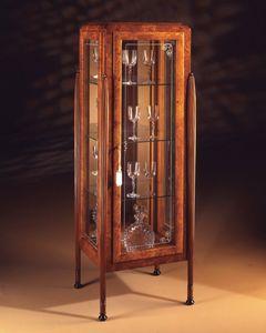 Art Déco Art.537 vitrine 1 porte, Vitrine en cendres et Zebrano, avec 1 porte