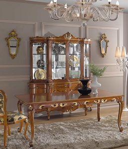 Chippendale armoire en verre 4 portes, Vitrine avec sculptures décoratives