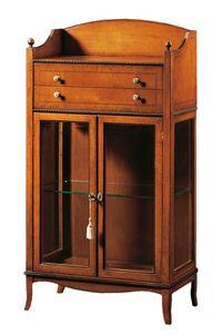 Cleopatra FA.0085, Vitrine avec 2 portes, 2 tiroirs et compartiment de rangement, idéal pour les environnements de style classique