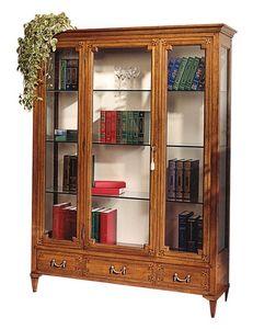 Cognac VS.6531.A, Vitrine en noyer, avec une porte centrale, 3 tiroirs, le dos recouvert de tissu, étagères en cristal, pour les environnements de style de luxe classique